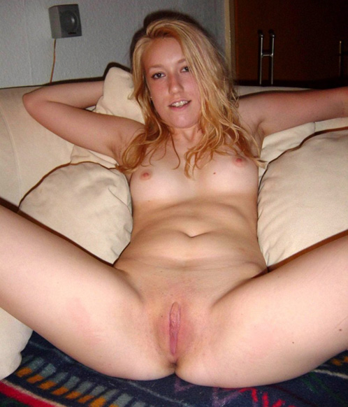 German Amateur Slut Spreads Legs Showing Shaved Pussy