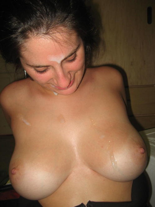 Amateur Big Titted Bitch Covered In Cum