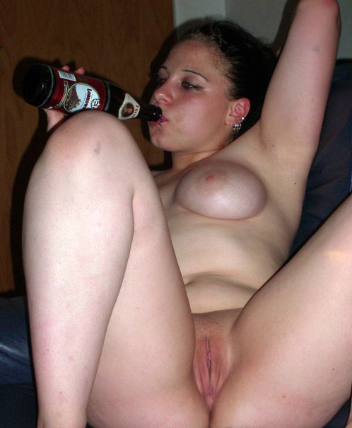 Drunk Teen with Beer Flashing Pussy