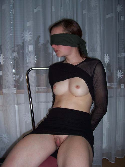 Blindfolded Slut Wife In Black Dress Tied To Chair