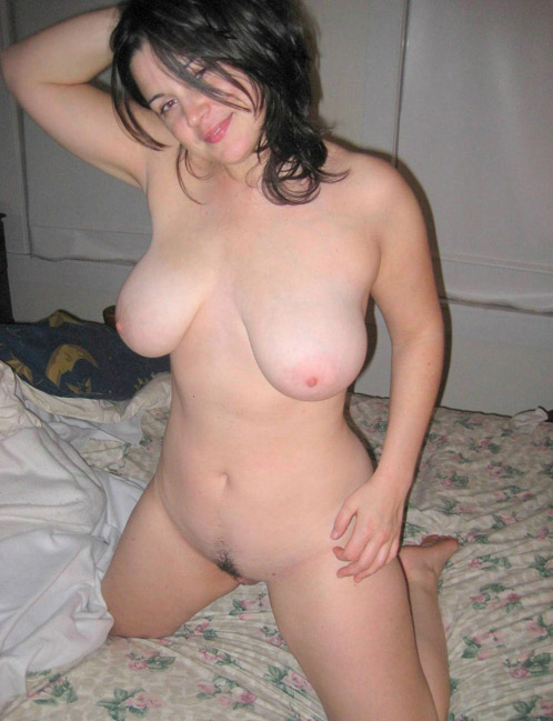 Big Titted Wife Kneeling Naked On Bed