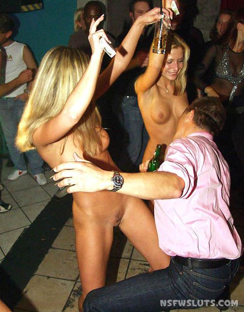 Drunk Chicks Strips at Party